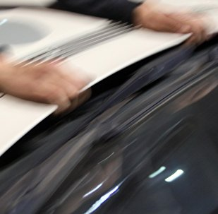 Мужчина держится за капот автомобиля. Архивное фото
