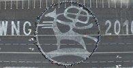 Стрит-арт, который повторяет эмблему Всемирных игр кочевников на Старой площади Бишкека