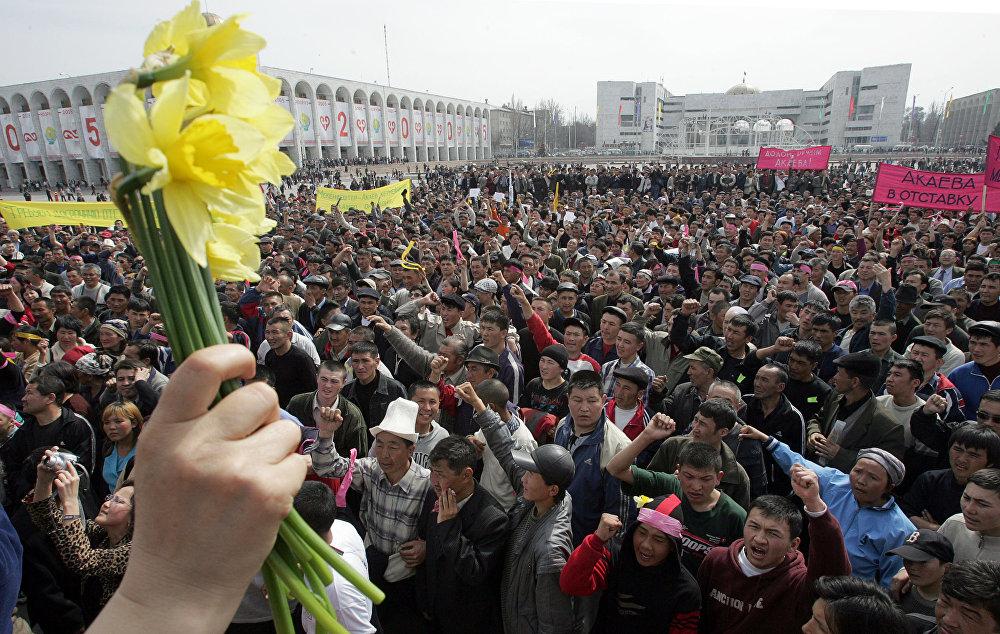 Бишкектеги оппозиция өкүлдөрүнүн митингинде колуна гүл кармаган аял. 2005-жылдын 24-марты