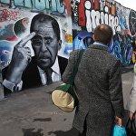Граффити с портретом главы МИД РФ С. Лаврова появилось в Москве