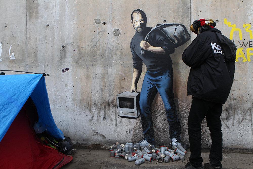 Граффити на лагере для беженцев в Кале