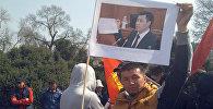 Митинг сторонников Садыра Жапарова в сквере имени М. Горького