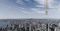 Американская архитектурная компания, базирующая в Нью-Йорке, представила футуристический архитектурный проект небоскреба, согласно которому здание будет свисать с неба