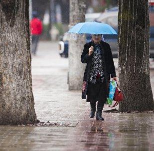 Женщина с зонтом во время дождливой погоды на одном из улиц Бишкека. Архивное фото