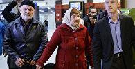 Мать подозреваемого в теракте Акбаржона Джалилова в аэропорту Санкт-Петербурга после прилета из Оша