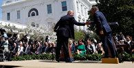 Иорданиянын королу Абдала II менен АКШ президенти Дональд Трамптын биргелешкен брифингинде
