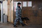 Сотрудник полиции с собакой в Москве. Архивное фото