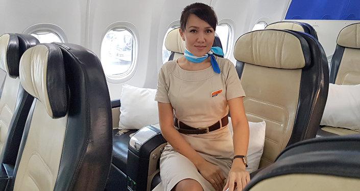 Бириккен Араб Эмирлигинин FlyDubai компаниясында борт коштоочу болуп иштеген Наргиза Мукамбетова