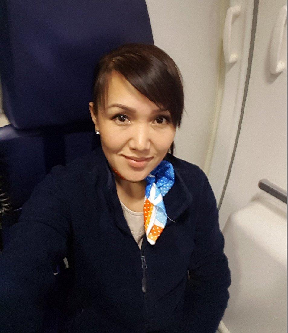 Стюардесса авиакомпании FlyDubai Наргиза Мукамбетова. Архивное фото