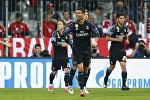 Игрок ФК Реал Мадрид Криштиану Роналду празднует забитый гол Баварии