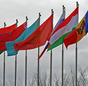 Флаги стран ЕАЭС и ОДКБ перед началом саммита глав государств-членов в Бишкеке