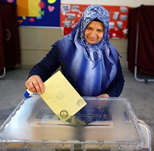 Женщина на избирательном участке во время референдума в городе Измир, Турция. Архивное фото