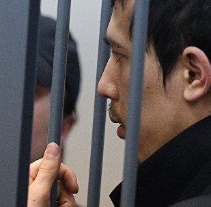 Предполагаемый организатор теракта в метро Петербурга Аброр Азимов на заседании в Басманном суде Москвы