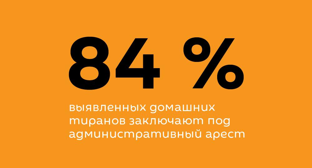84 % выявленных домашних тиранов заключают под административный арест