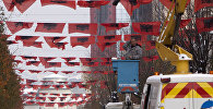 Украшение национальными албанскими флагами в Косово. Архивное фото