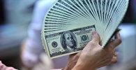 Женщина демонстрирует доллары США. Архивное фото