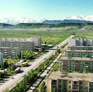Вид на новый 10-ый микрорайон. Город Фрунзе. Архивное фото