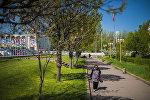 Прохожая на площади Ала-Тоо в Бишкеке. Архивное фото