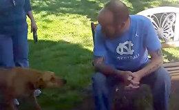 Собака не сразу узнала похудевшего после операции хозяина