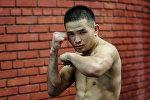 Архивное фото кыргызстанского боксера Дастана Али Шаршеева во время тренировки