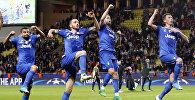 Футболисты клуба Ювентус празднуют победу над Монако в первом матче полуфинала Лиги чемпионов
