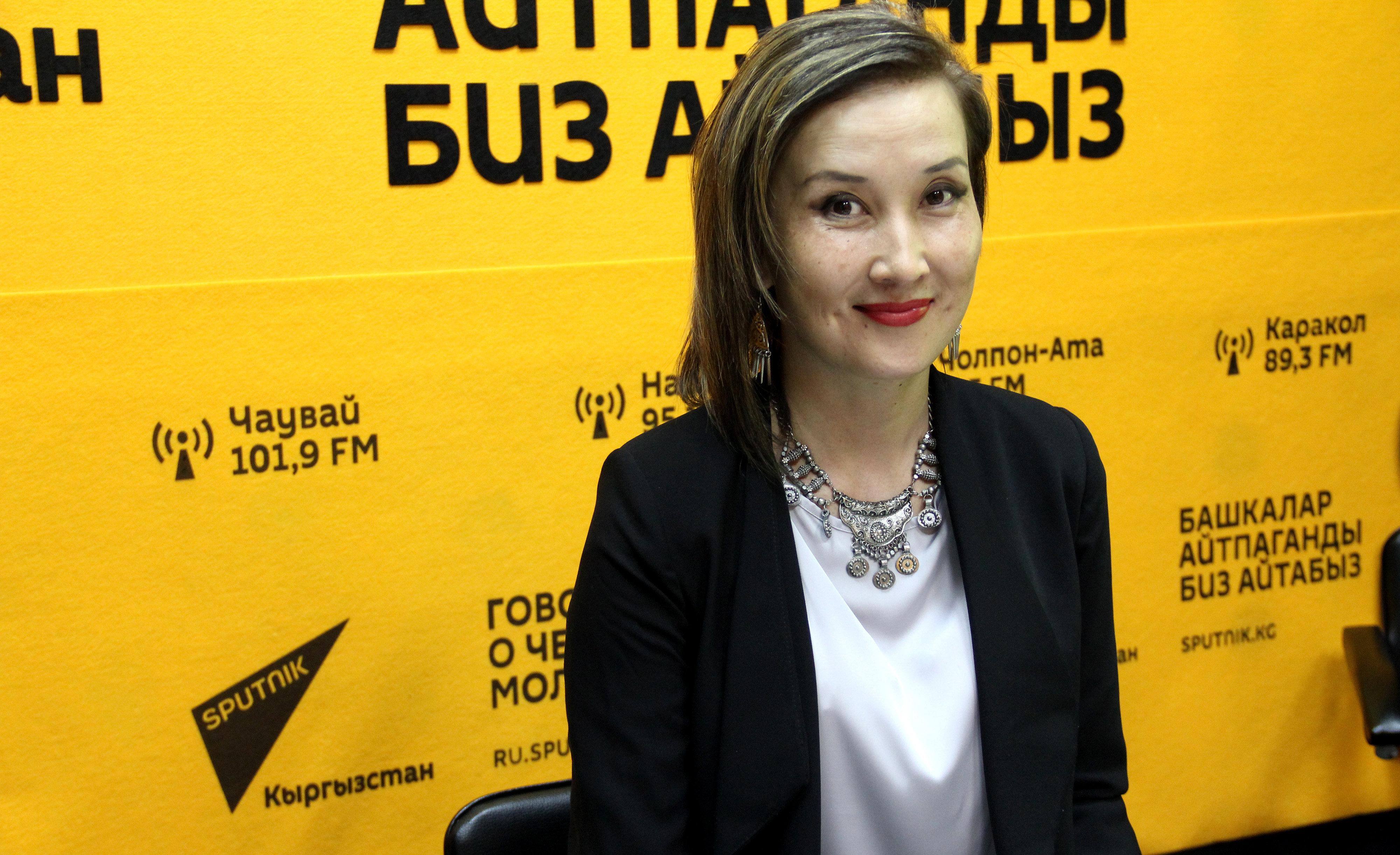 Пресс-секретарь ОАО Электрические станции Тагжана Айдаралиева в мультимедийном центре Sputnik Кыргызстан