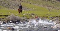 Кыргызстанец придумал новый вид экстрима: нужны доска, река и конь