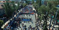 Суудай агылган урпактар. Бишкектеги Өлбөс полк акциясынын асмандан көрүнүшү