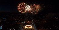 Праздничный фейерверк к Дню Победы в Бишкеке — аэросъемка