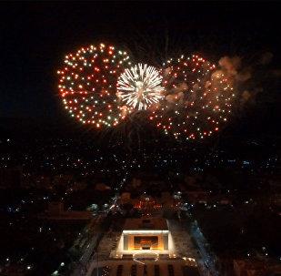 Бишкектеги майрамдык фейерверктин асмандан көрүнүшү