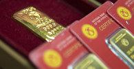 Золотые мерные слитки Национального банка Кыргызстана. Архивное фото