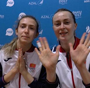 Женская сборная Кыргызстана по волейболу передает привет из Баку