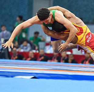 Кыргызстандык балбан Каныбек Жолчубековдун финалдык күрөшү