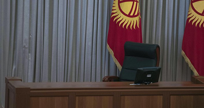 Кресло вице-спикера Жогорку Кенеша после заседания. Архивное фото