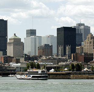 Вид на город Монреаль. Канада. Архивное фото