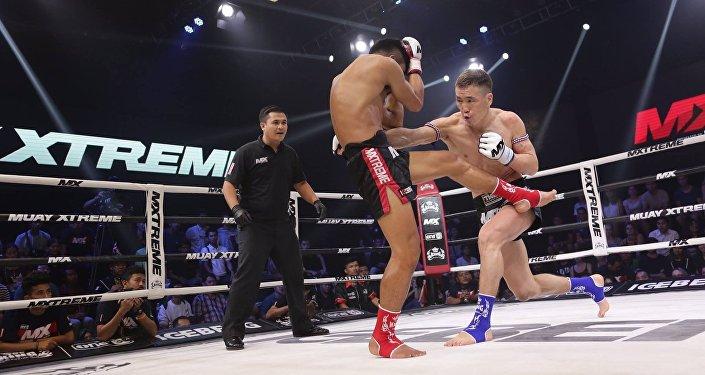 Кыргызстандык мушкер Жаныбек Бейшебек уулу MX Muay Xtreme эл аралык тай бокс боюнча турнирде каршылашын нокаут менен жеңип алды