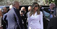 Президент США Дональд Трамп и первая леди Мелания Трамп прибывают в резиденцию президента Израиля в Иерусалиме 22 мая 2017 года.