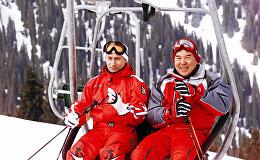В.Путин и Н.Назарбаев на горнолыжном курорте в Казахстане