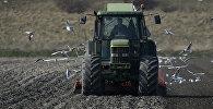 Трактор на поле. Архивное фото