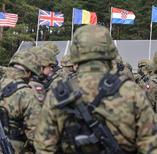 Церемония приветствия многонационального батальона НАТО под руководством США в польском Ожише. Архивное фото