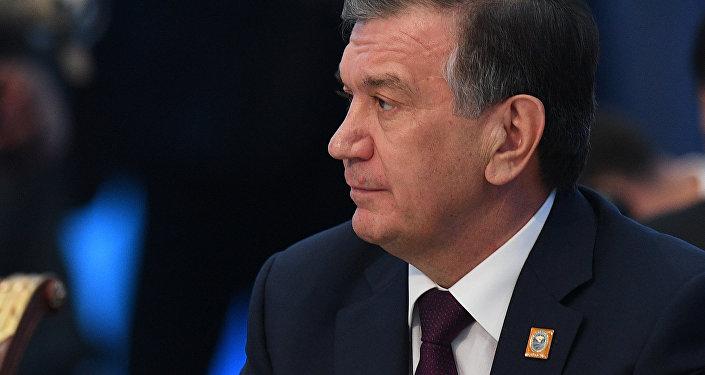 Президент Узбекистана Шавкат Мирзиеев на заседании совета глав государств - членов Шанхайской организации сотрудничества (ШОС) в расширенном составе.