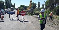 Вырубка деревьев на автотрассе Бишкек — Кара-Балта