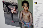 Instagram социалдык тармагынын ryusei2010 аттуу колдонуучунун бетинен тартылган кадр.  Кичинекей Брюс Ли аттыкан жети жашар Рюдзи Имаи