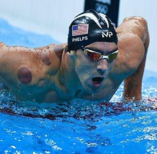 Архивное фото знаменитого американского пловца Майкла Фелпса