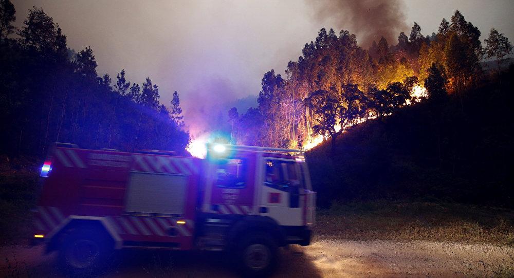 Пожарная машина на месте сильных лесных пожаров в муниципалитете Педроган-Гранди в Португалии