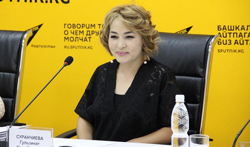 Певица Гульзинат Суранчиева на пресс-конференции в мультимедийном пресс-центре Sputnik Кыргызстан
