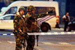 Бельгийские военные на месте теракта на центральном вокзале Брюсселя