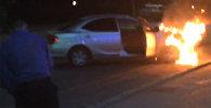 Горящая машина на пересечении улиц Калыка Акиева и Токтогула