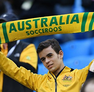 Болельщик сборной Австралии во время матча Кубка конфедераций-2017 по футболу между сборными Камеруна и Австралии.