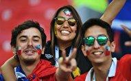 Чилийские болельщики на трибуне стадиона Спартак перед матчем Кубка конфедераций-2017 по футболу между сборными Камеруна и Чили. Архивное фото